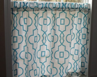 """Premier Prints Cafe Curtains Snowy Blue 80"""" wide x 30"""" long Blue and White"""