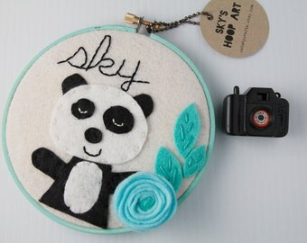 Cute Panda Bear, Embroidery Hoop Art, Mint, Black and White,  Wall Decor, Baby Girl Name Sign, Personalized Nursery Sign, Kawaii, Felt Hoop