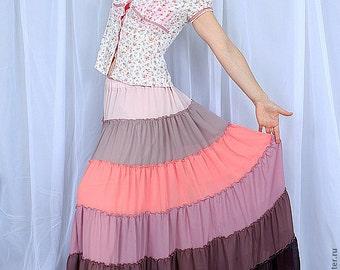 Custom order Skirt Tiered Ruffle Chiffon Urban Boho Hippie Gipsy Elegant  Long Skirt  Plus size