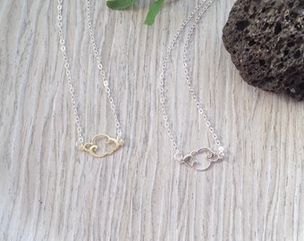 Cloud Necklace, Small,Silver Gold, Fine Jewelry, Cloud Charm, Sterling Silver Weather,  Rainy Day , Simple Jewelery, Gift for Women