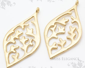 2pcs Matte Gold Plated Pendant Charm unique jewellery findings // 21mm x 41mm // 1164-MG