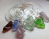 Handmade Genuine Seaglass Wine Glass Charms Set of Six
