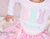 Easter bunnies shirt with name. Monogrammed Bunny tshirt or Infant Bodysuit for baby girl, toddler, child. Personalized Easter clothes.