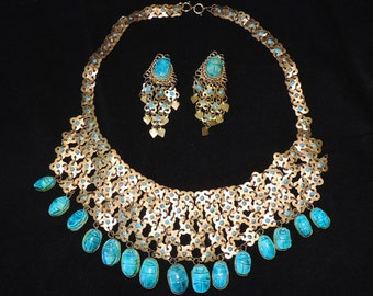 60s Egyptian Turquoise Scarab and Brass Mesh Necklace Earring Set