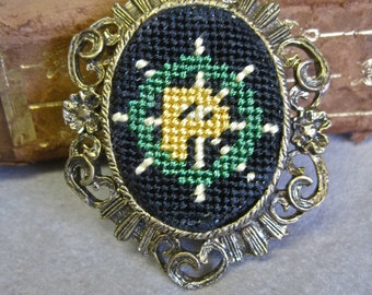 Needlepoint Cameo Brooch Pendant Necklace Ships Wheel Letter Initial P Nautical Design Hand Work Mystery Meaning One of a Kind ooak