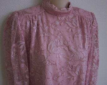 Vintage Dress pink lace Evening  wear chemise M