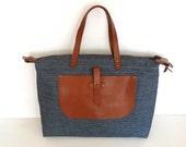 Blue Denim Weekender Bag  - Leather Single Strap Shoulder bag / Tote Bag / Diaper Bag