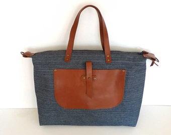 Free Express Shipping Blue Denim Weekender Bag  - Leather Single Strap Shoulder bag / Tote Bag / Diaper Bag