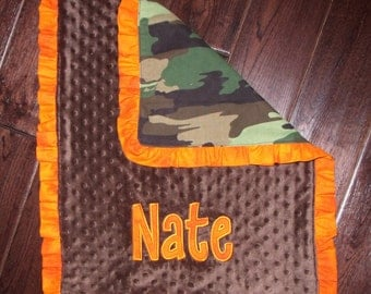 Boutique Boy's Camo Themed Carseat, Stroller or Medium Blanket