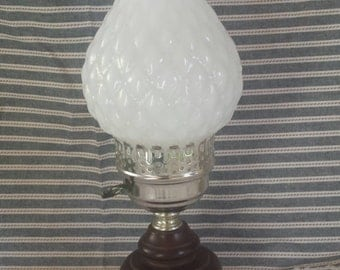 Vintage Milk Glass and Wood Base Lamp