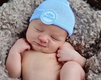 LITTLE BROTHER newborn hospital hat little brother newborn boy coming home outfit newborn boy hat baby boy newborn hat infanteenie beanie