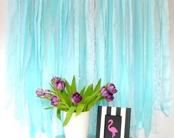 Fabric Backdrop Rag Streamer Garland Aqua Mint Stripes