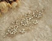 Antique style rhinestone applique with pearls for bridal sash, wedding belt, headpieces,DIY wedding