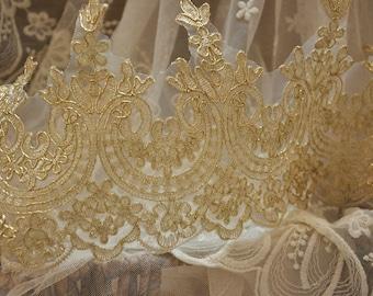 light gold alencon lace trim, bridal veil lace