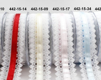 1.5 Inch White Lace / Satin Center Ribbon by the yard