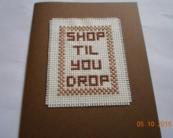 completed cross stitch gift card  Shop Til You Drop all occasion gift card