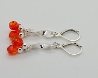 Fire Opal Swarovski Crystals Lever Back Sterling Silver Earrings 02