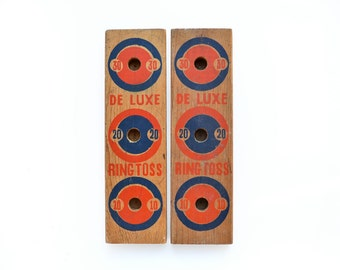 2 ring toss back boards, nice graphics, vintage wood toy, vintage game parts,  from Elizabeth Rosen