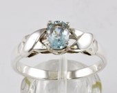 Sterling Silver Ring w/ Genuine Blue Topaz - .925 Silver Fashion Size 10 Ring - Sweetheart - Promise Ring - Kiss Design Ring - Prom Jewelry