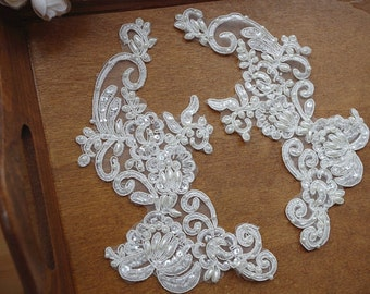 ivory bridal headpiece, pearl beaded applique, alencon lace applique, sequined lace applique, 2pcs