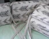 Custom Crib Bumpers / Six Piece / Grey White Tonal Arrows Woodland