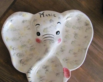 vintage Elephant Plate 1960's Childs Plate MARIE
