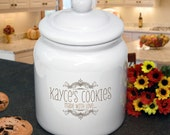 """Personalized Cookie Jar : Whimsical Design """"Made with Love"""" for Housewarming, Birthday, or Shower Gift"""