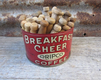 Vintage Metal Coffee Can Breakfast Cheer RED 1930s Tin FILLED with 50 Vintage Wood Clothes Pins Laundry Room Primitive Farm House Antique