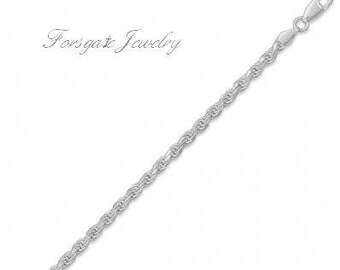 Sterling Silver 3.3mm Diamond Cut ROPE Chain Necklace or Bracelet
