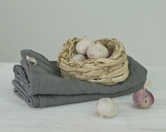 LINEN TEA TOWELS. frost grey
