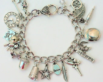 Peter Pan And Wendy Thimble and Acorn Kisses and Lost Boys Charm Bracelet in Silver Tone III - Second Star Right
