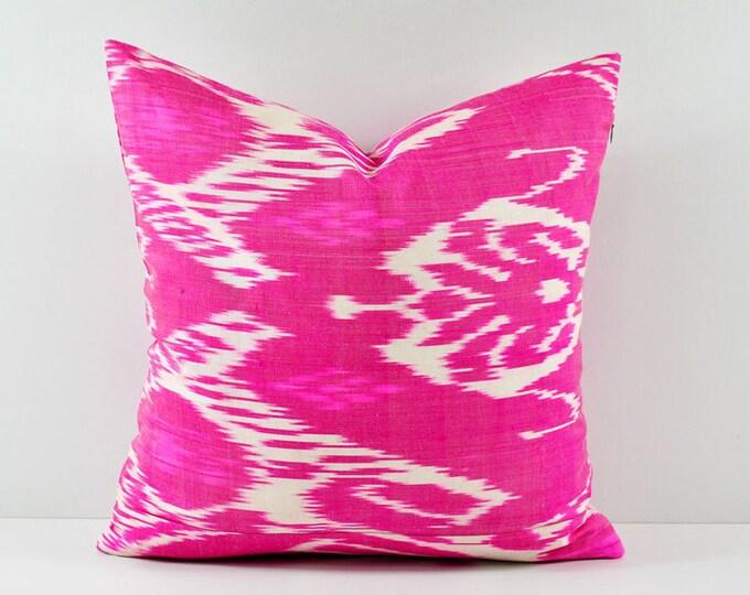 Ikat Pillow, Hand Woven Ikat Pillow Cover, Ikat throw pillows, Pink Ikat Pillow, Designer pillows, Decorative pillows, Accent pillows