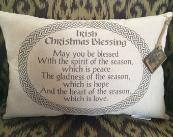 Irish Christmas Blessing Pillow