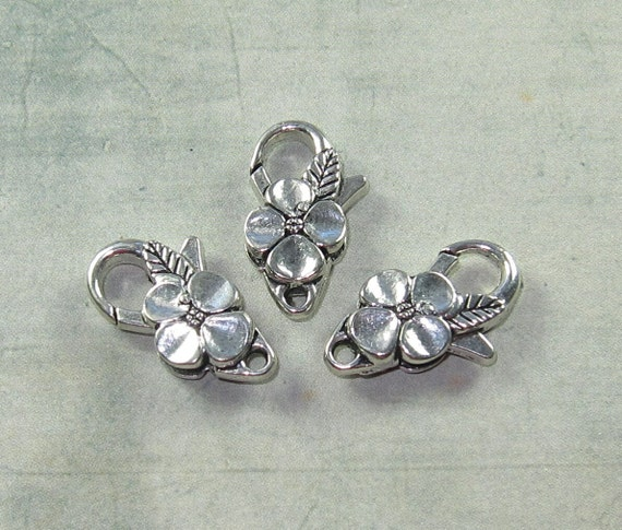 Pewter Lobster Clasp 25x14mm Flower Leaves Silver Bead (6)
