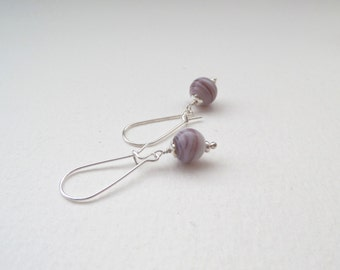 Mauve & White Bead Silver Earrings - pink earrings - long kidney wires.