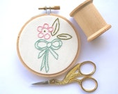 Pastel vintage flower embroidery / spring home decor / retro hoop art / mint bow embroidery / small hoop ornament