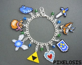 MADE TO ORDER (potential waiting list) Custom Legend Of Zelda Charm Bracelet ~ Video Game Jewelry, Link to the Past, Pixelated, 8 Bit
