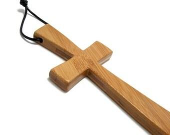 Handmade Wall Cross, Cross Wall Hanging, 2 1/2 Inch x 7 Inch Wooden Cross, Bamboo Cross, Wall Decor, Gifts Under 50