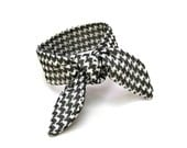 Top Knot Tie Wired Hair Accessory for Buns or Pony Tail Bun Wrap Houndstooth Black White Women Hair Accessory Small Gift Ready to Ship