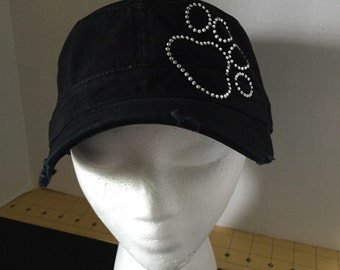 Paw Print Embellished Military Style Cotton Distressed Hat