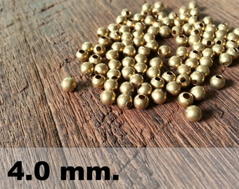 100 Pcs (4.0mm)  Brass Beads - Round beads -Brass Spacer-