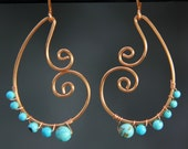 Turquoise copper wiring scroll hoop earring handmade US freeshipping Anni Designs
