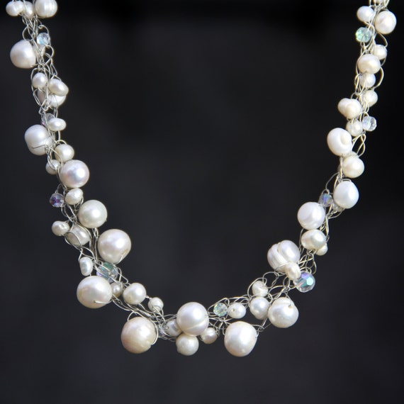 Chunky pearl crochet wiring collar necklace Bridesmaid gifts Free US Shipping handmade Anni designs