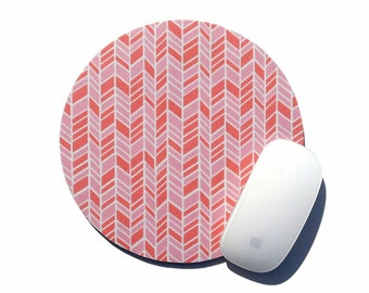Herringbone Mouse Pad / Pink and White / Round Mousepad / Office Home Decor / Holiday Gift