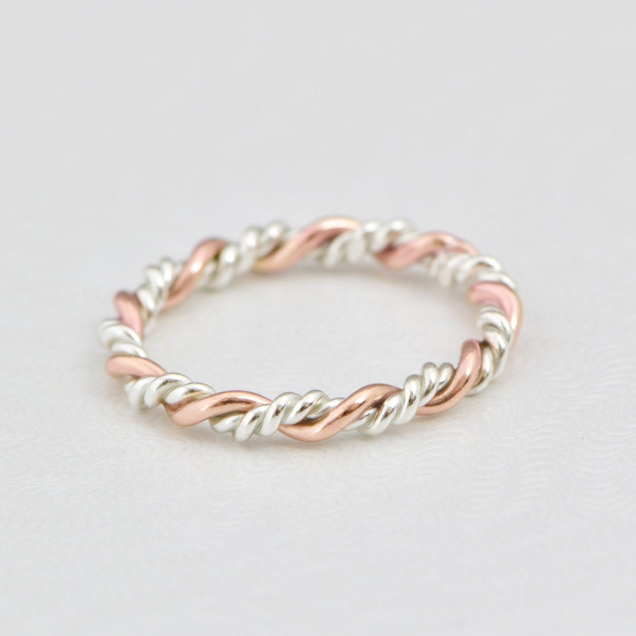 Stacker Bands: Rose Gold Twist Ring Gold Stack Ring Stacker Ring Rose Gold