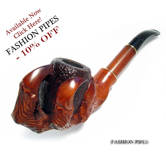 "Set Tobacco Pipe Churchwarden Smoking Pipes ""DRAGON CLAWS"", Long Wooden Pear Wood Handcrafted Pipe & Tamper Gift from Fashion Pipes ."