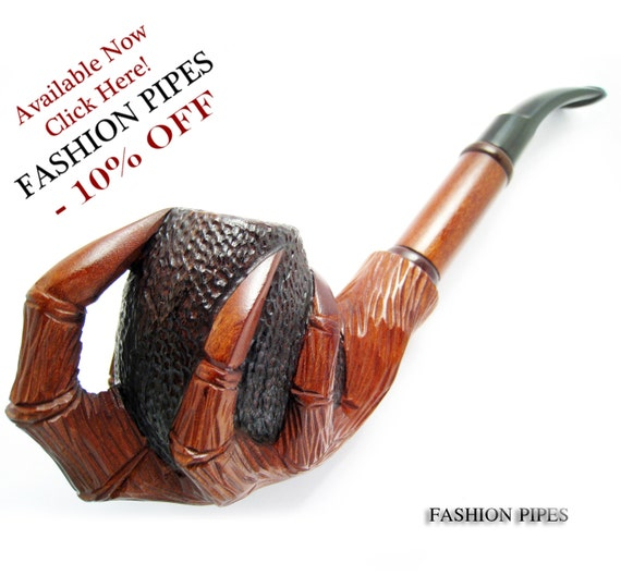 Author Tobacco pipe/pipes Smoking Pipe/Pipes for Pipe Smokers, Wooden Pipe/Pipes Long Carved EAGLE CLAWS - Exclusive Smoking Pipe.