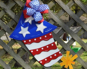 4th of July Door Hanger, Firecracker Door Hanger, Summer Door Hanger, Celebrations, Patriotic Door Hanger