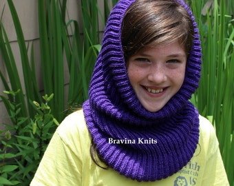 Girls Knitted Hood  Blue, Purple or  Dust.Rose