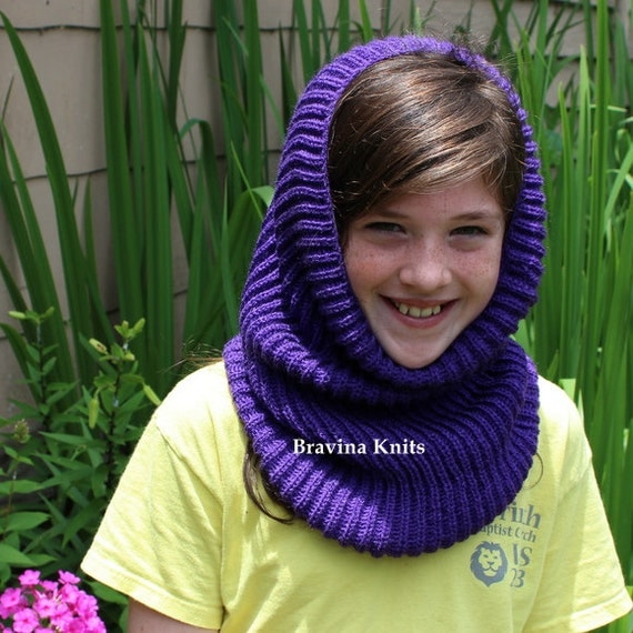 Girls Knitted Hood  Blue, Purple or  Dust.Rose